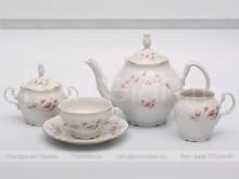 """Сервиз чайный на 6 персон 15 предметов """"Бледные розы, отводка золото"""" Bernadotte"""