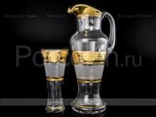 """Набор для воды богемское стекло кувшин и 6 стаканов """"Каро"""" Bohemia"""