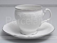 """Чайные пары чашка 240 мл и блюдце на 6 персон 12 предметов бочка """"Деколь. отводка платина"""" Bernadotte"""