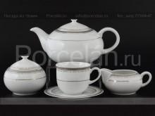 """Чайный сервиз """"Платиновая лента Опал"""" на 6 персон 15 предметов"""