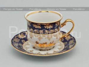 """Набор чайных пар из 6 шт. """"Кобальт Золотая роза"""" 677/G Epiag"""