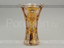 Ваза для цветов 25.5 см. иксовка хрусталь с золотом Jahami Bohemia