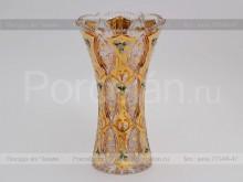 Ваза для цветов 30.5 см. иксовка хрусталь с золотом Jahami Bohemia