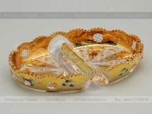 Кабаретница 24.5 см. хрусталь с золотом Jahami Bohemia