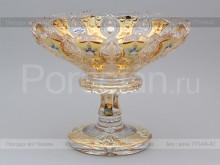 Ваза для фруктов на ножке 35.5 см. хрусталь с золотом Jahami Bohemia