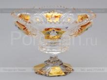 Ваза для конфет на ножке 15.5 см. хрусталь с золотом Glasspo