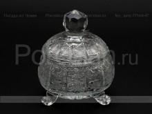 Ваза для варенья с крышкой 10.5 см. хрусталь снежинка Glasspo