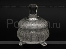 Ваза для варенья с крышкой 12.6 см. хрусталь снежинка Glasspo