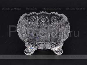 Ваза для варенья на трех ножках 0.8 см. хрусталь снежинка Glasspo