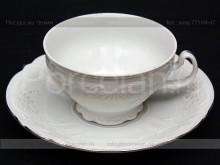 """Набор чайных пар 155 мл., 6 шт. """"Деколь, отводка платина"""" Bernadotte"""
